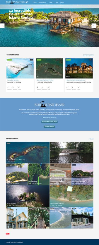 rent a private island website design