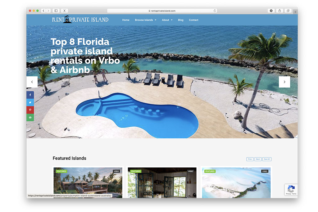 web design: rent a private island.com