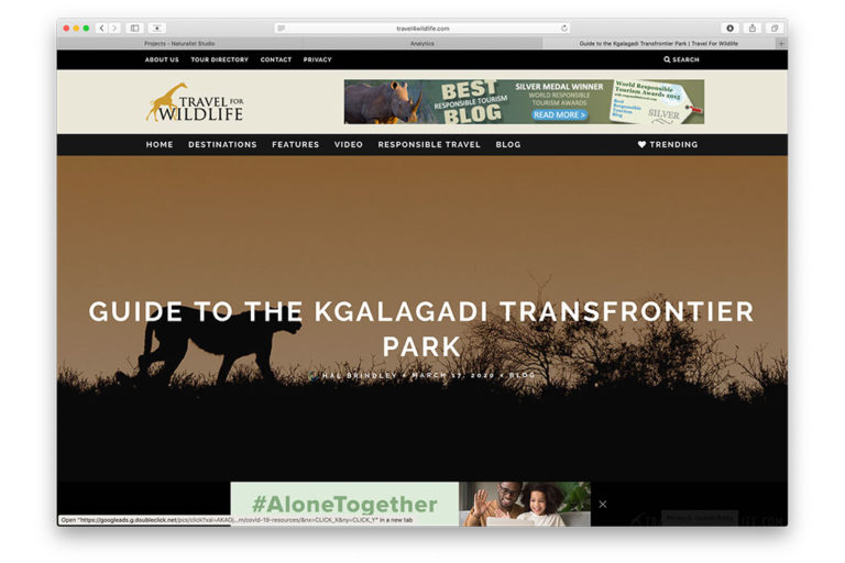 web design: Travel For Wildlife