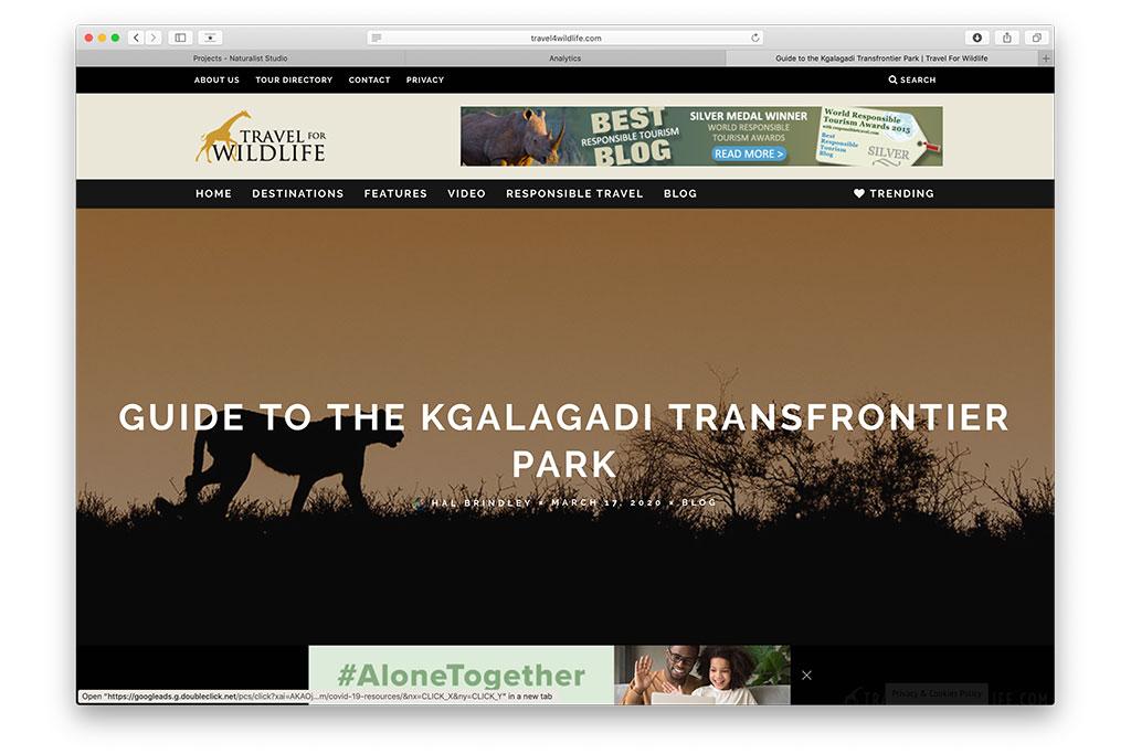 web design: Travel For Wildlife